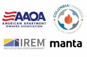 Our Association Logos- Includes the American Apartment Owners Association; Columbia Chamber of Commerce; Institute of Real Estate Management; and Manta.