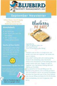 September 2020 BlueBird Property Newsletter & Events